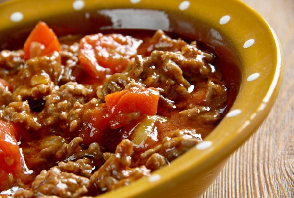 Axoa - traditional dish of the Basque country.minced beef with vegetables